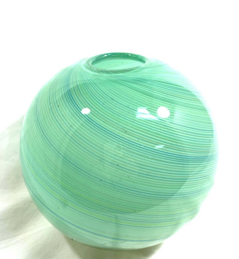 FANTASTIC BLUE/GREEN SWIRLING GLASS FISHBOWL VASE