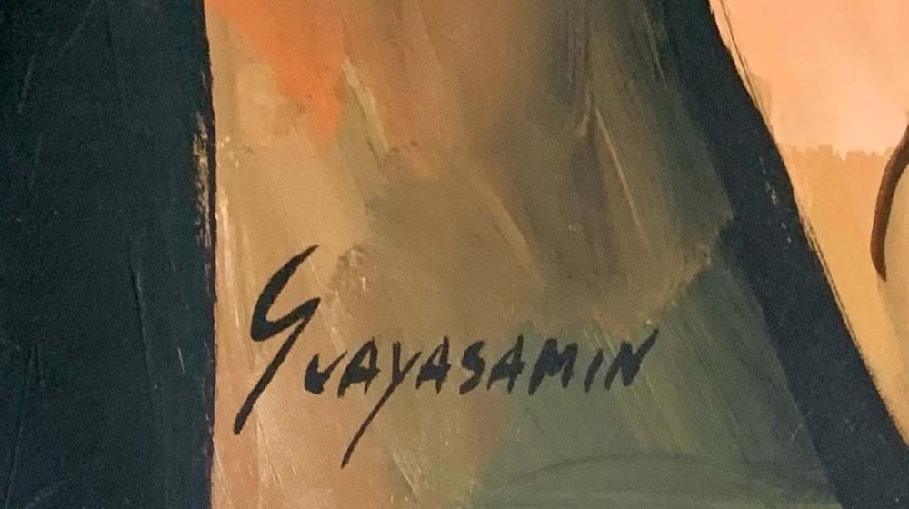Lot 39: OSWALDO GUAYASAMIN FIGURATIVE OIL PAINTING V$5,000