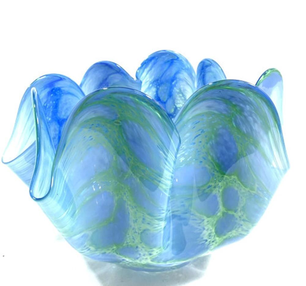 EXQUISITE BLUE/GREEN MODERNISTIC MURANO GLASS BOWL