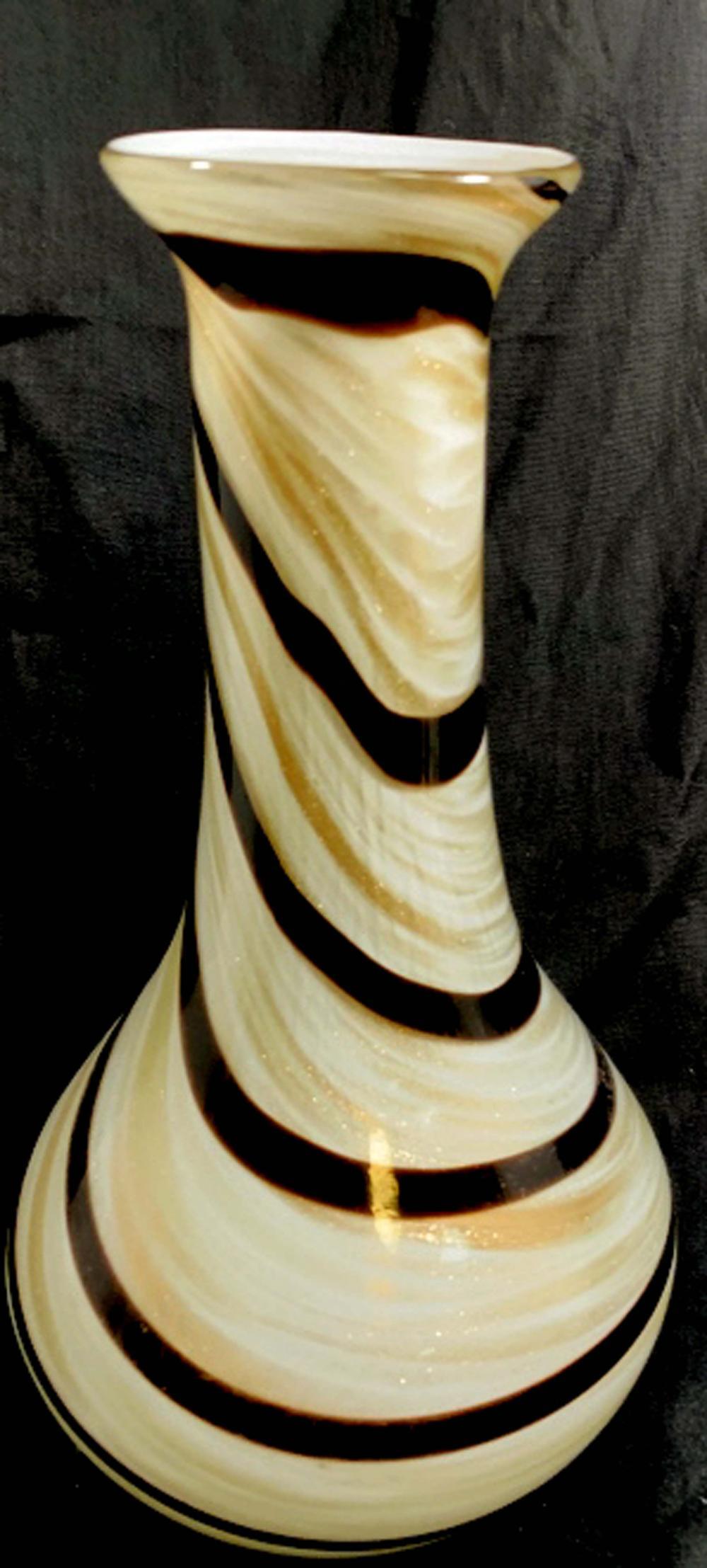 SPLENDID GOLD SWIRL MURANO MODERN GLASS VASE