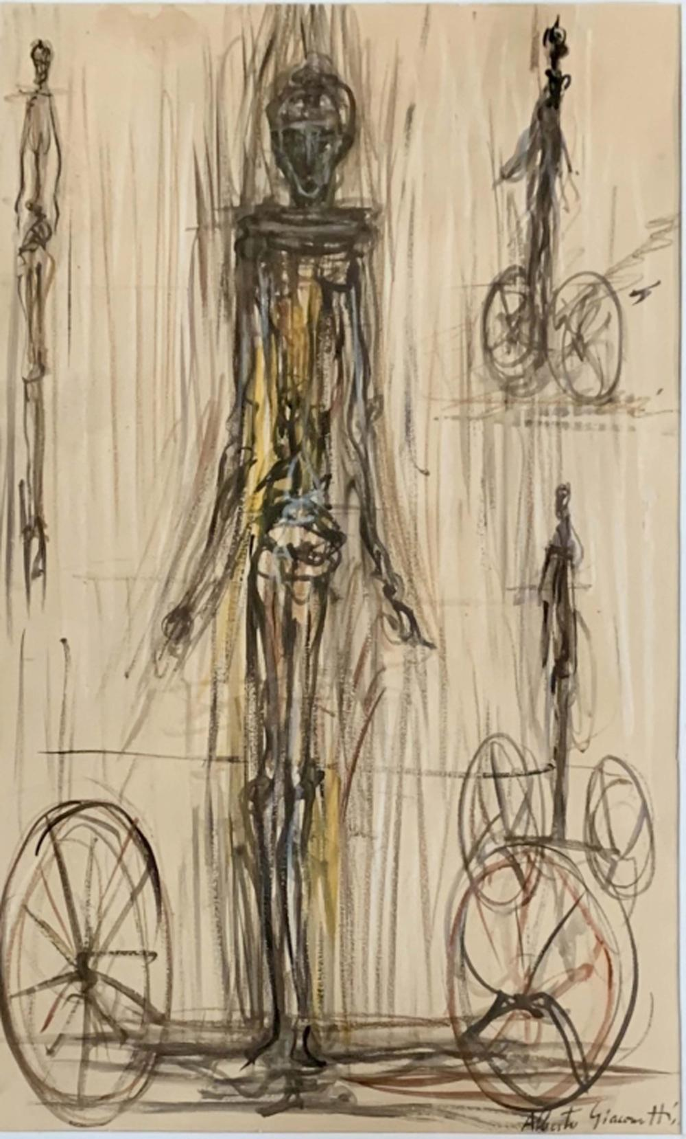 Lot 47: ALBERTO GIACOMETTI ABSTRACT DRAWING/PAPER V$10,000