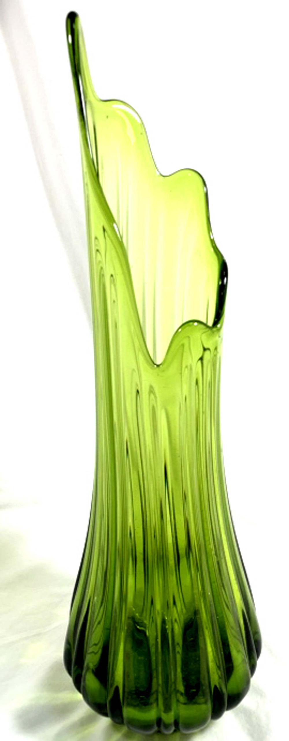 VINTAGE TALL GREEN SLAG GLASS VASE