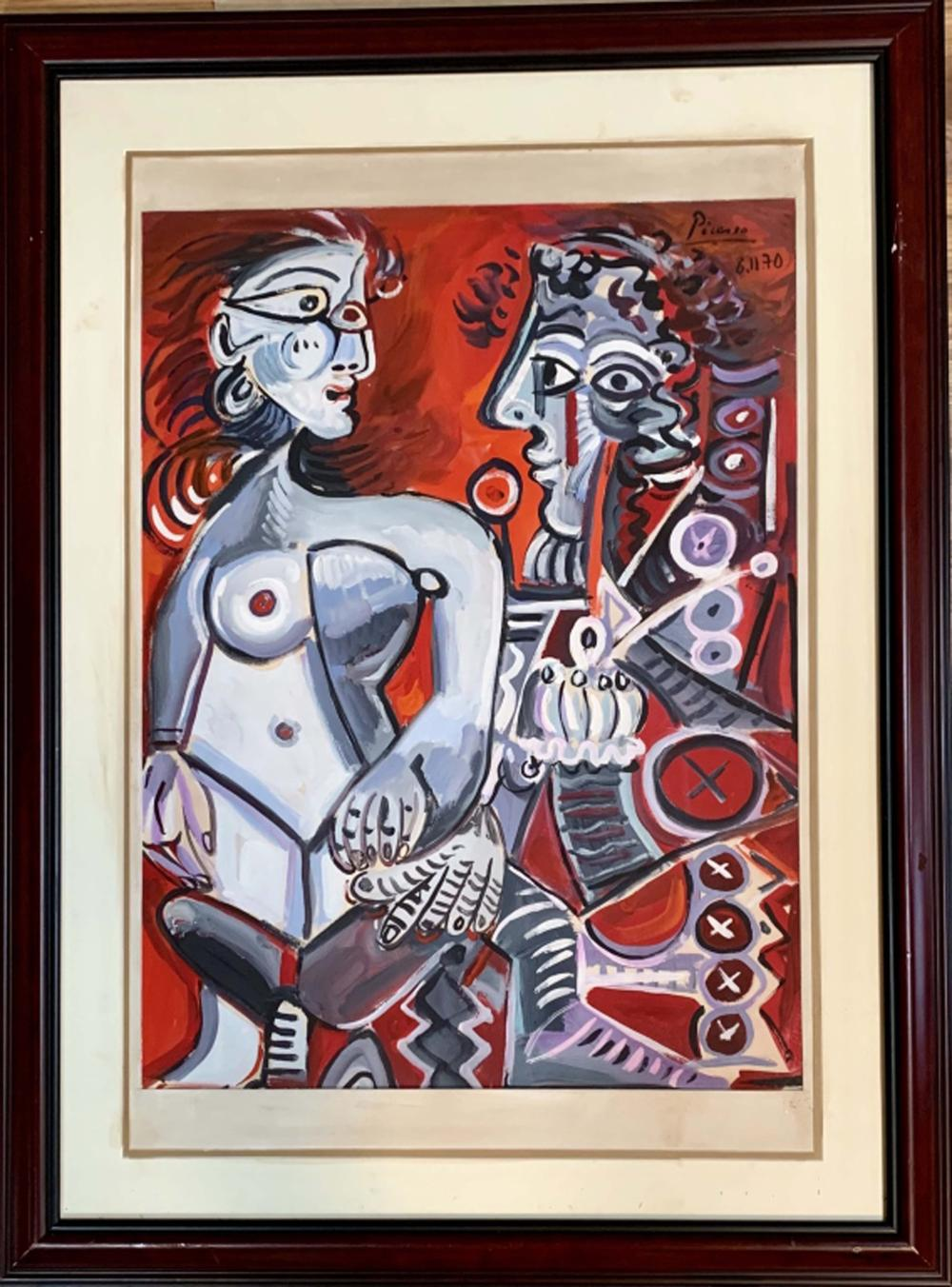 Lot 77: PABLO PICASSO ABSTRACT FIGURATIVE ACRYLIC V$8,500