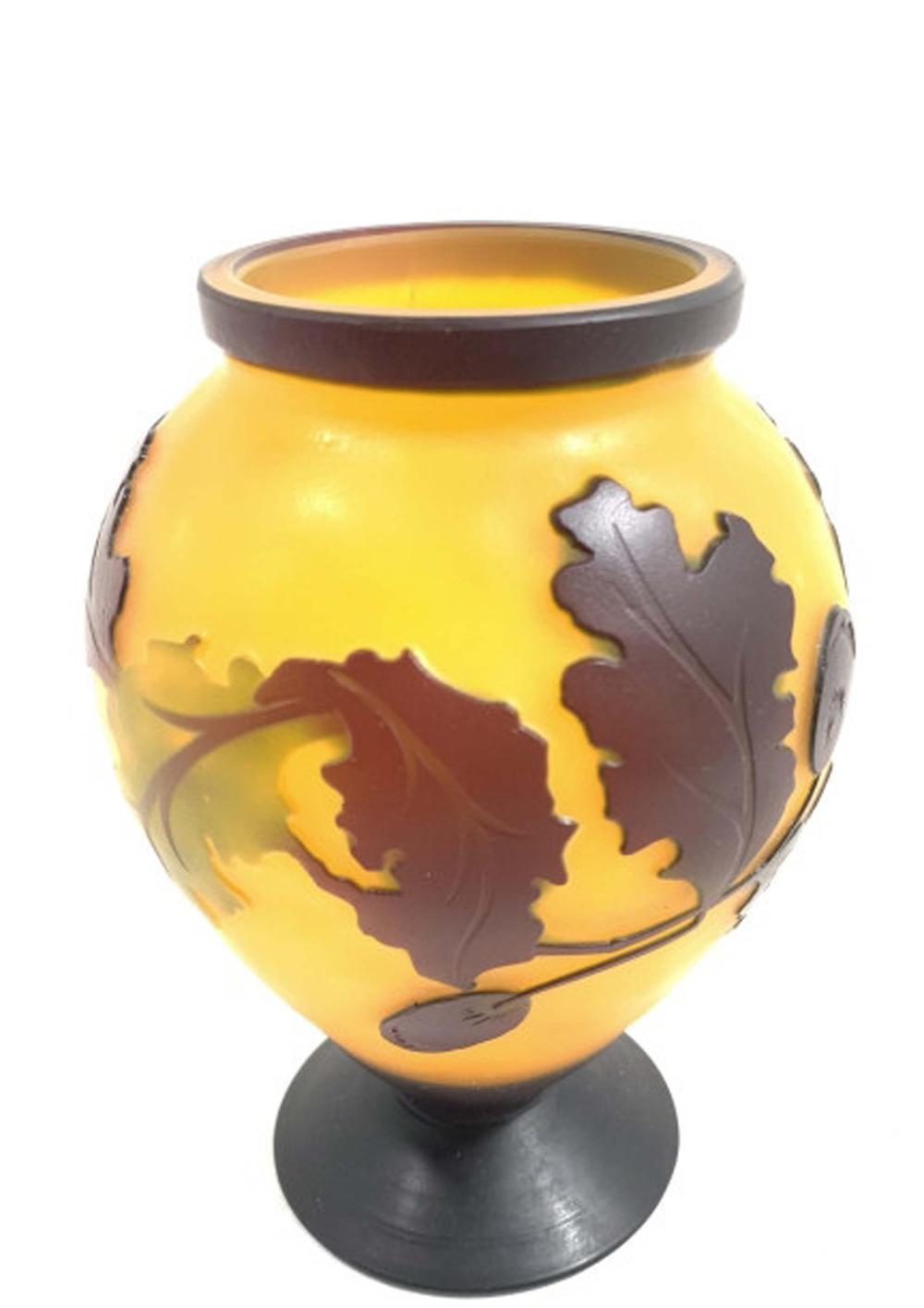 VINTAGE GALLE' STYLE SMALL CAMEO VASE