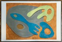 Lot 81: JEAN ARP ABSTRACT OIL ON PAPER V$8,000