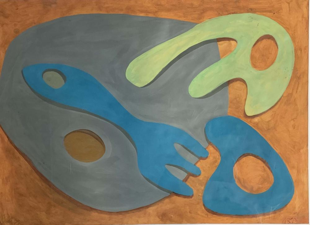 JEAN ARP ABSTRACT OIL ON PAPER V$8,000
