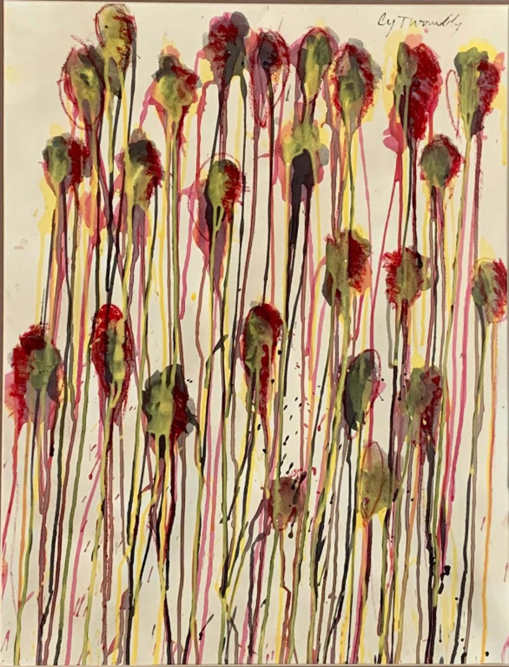 Lot 89: CY TWOMBLY POLYCHROMATIC WATERCOLOR V$33,000