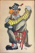 VINTAGE SIGNED CLOWN PAINTING ON PAPER