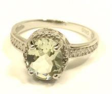 FACETED OVAL CUT 2CT GREEN AMETHYST ESTATE RING