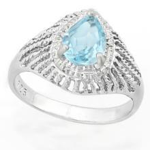ART DECO 1CT BLUE TOPAZ STERLING RAISED RING