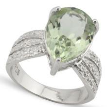 HUGE 4.5CT GREEN AMETHYST/DIAMOND PEAR CUT RING