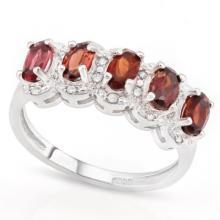 PRETTY GARNET/DIAMOND ROW 1.5CT STERLING RING