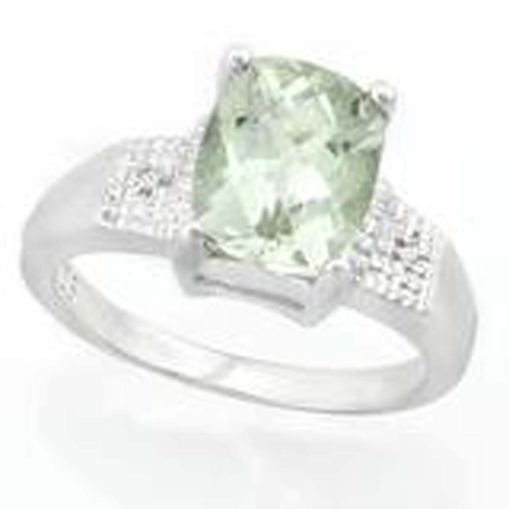 Lot 5: 2CT BRILLIANT CUSHION CUT GREEN TOPAZ SOLITAIRE RING