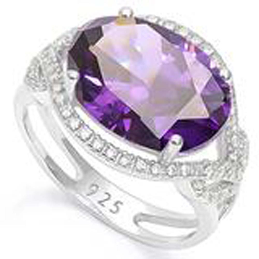 GORGEOUS 4CT FACETED AMETHYST/WT TOPAZ COCKTAIL RING