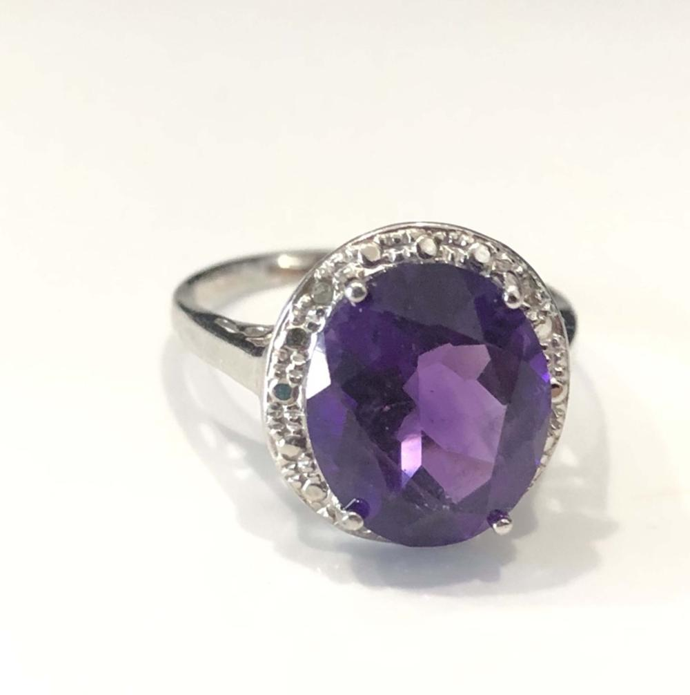 SPARKLING AMETHYST FILIGREE ACCENT STERLING RING