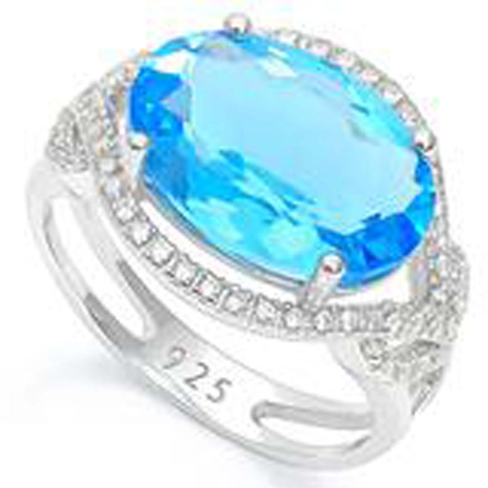5CT ART DECO STYLE BRIGHT BLUE QUARTZ STERLING RING