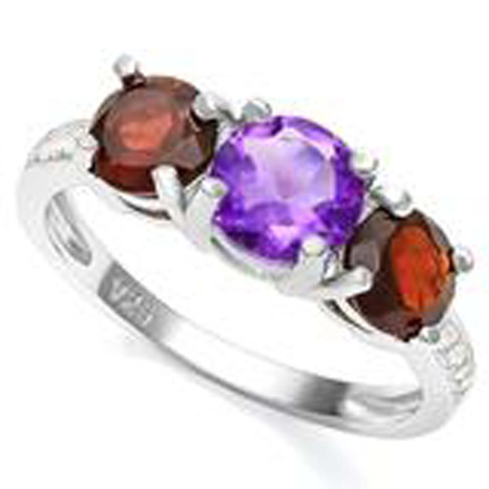 Lot 13: 3CT 3 STONE GARNET/AMETHYST STERLING ESTATE RING