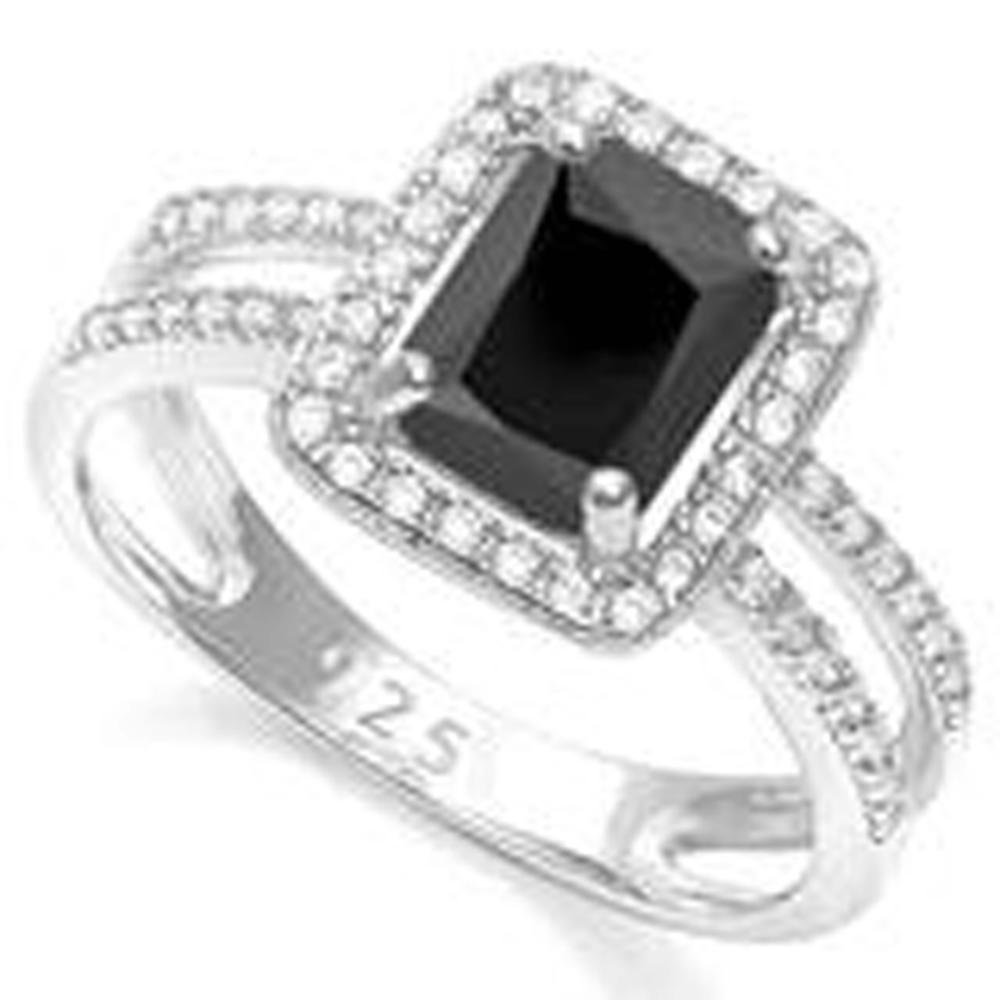 RARE 2CT BLACK SPINNEL EMERALD CUT STERLING RING
