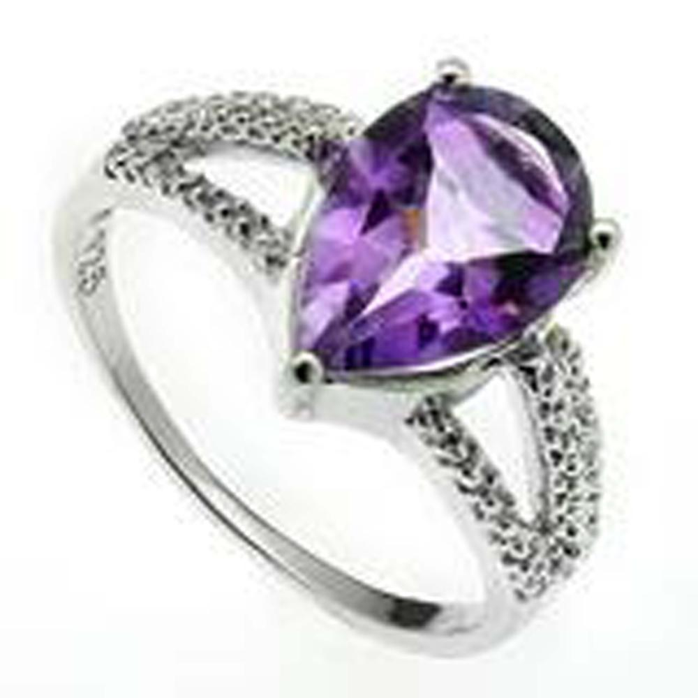 Lot 14: 5CT FANTASTIC PEAR CUT AMETHYST LADIES RING