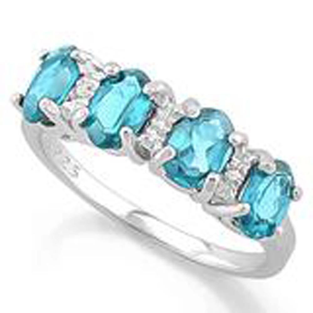 OUTSTANDING 2CT OVAL ROW BLUE TOPAZ STERLING RING