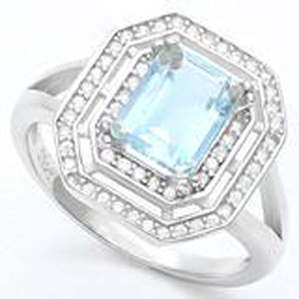 LUXURIOUS 1CT AQUAMARINE ART DECO STERLING RING