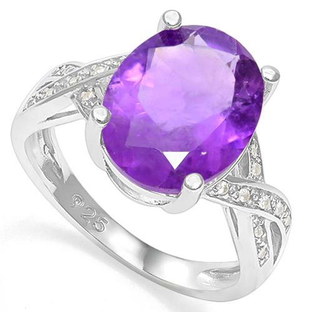 EXQUISITE 6CT CRISS CROSS OVAL AMETHYST RING