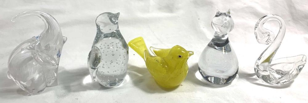 LOT OF ASSORTED SMALL ART GLASS ANIMAL FIGURINES
