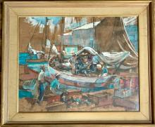 Lot 34: PHIL DIKE MIXED MEDIA BOAT SCENE PAINTING V$12,000