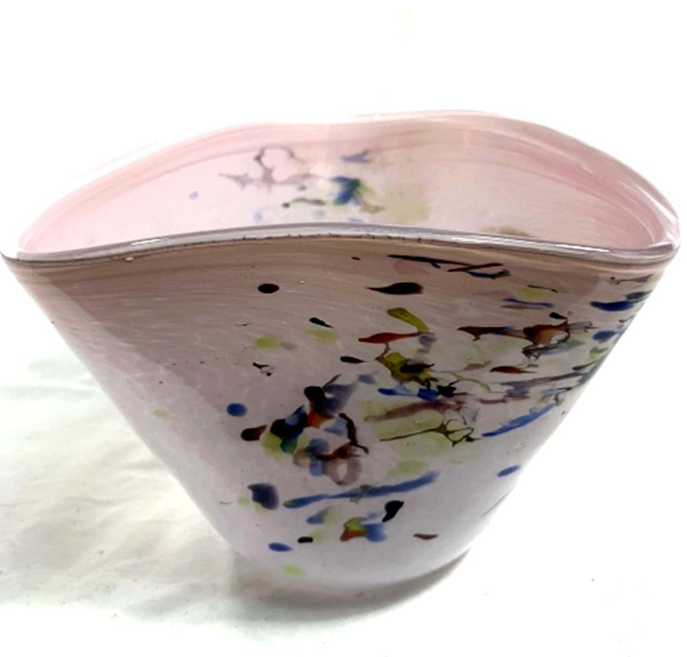 Lot 36: LOVELY MULTI COLOR SPOTTED PINK ART GLASS VASE
