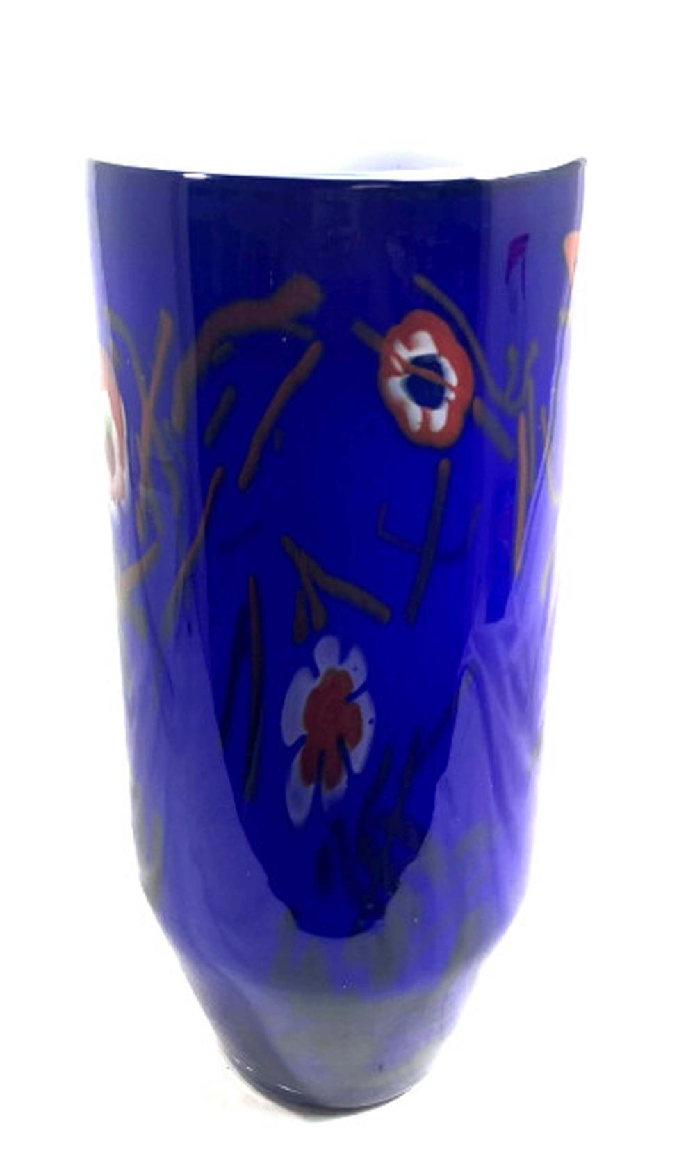 Lot 50: SPLENDID TALL MURANO COBALT MILIFIORI GLASS VASE