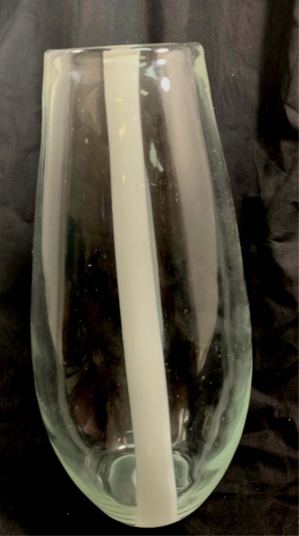 EXQUISITE TALL CLEAR/WHITE STRIPE ITALIAN GLASS VASE