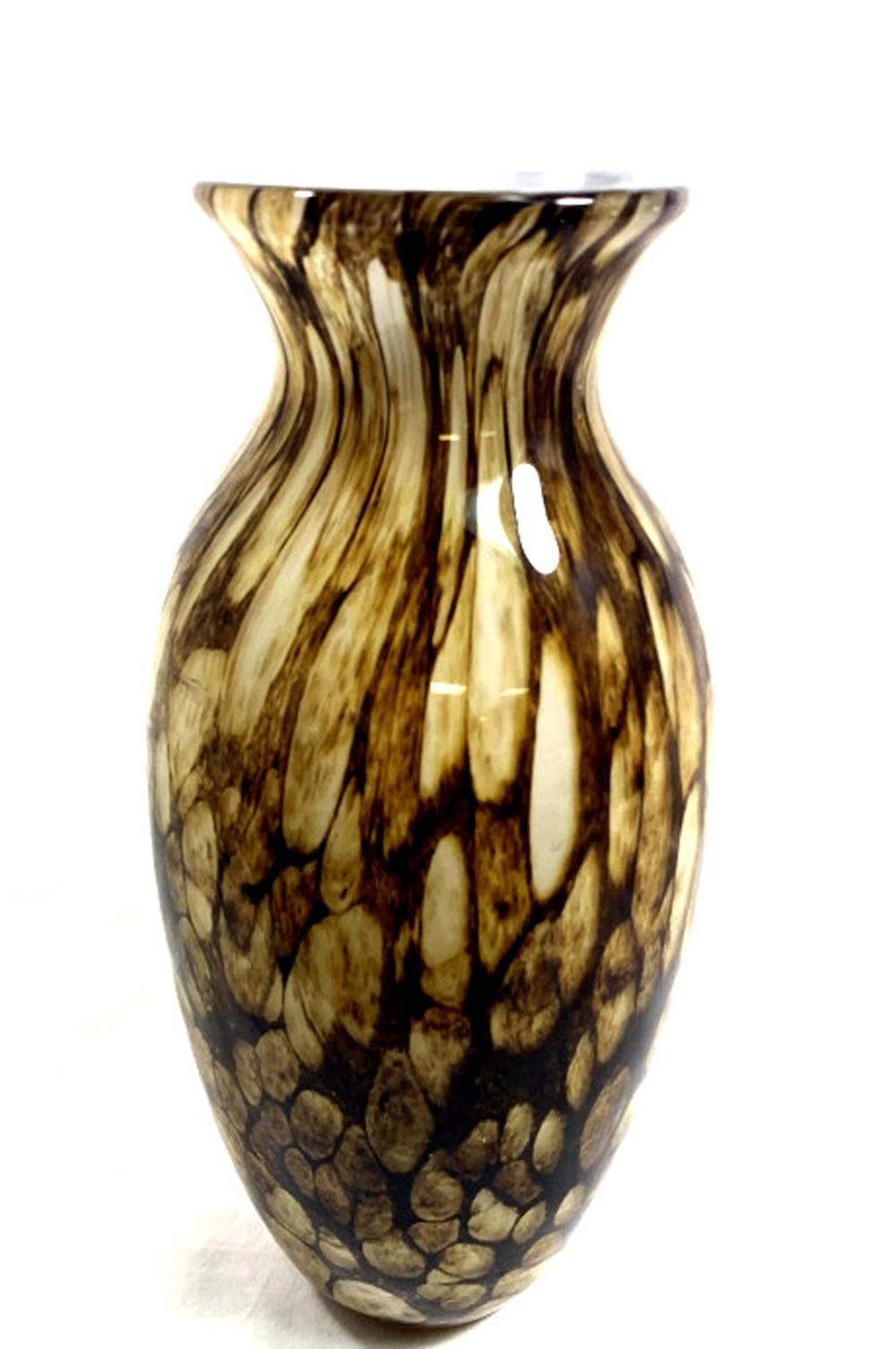SUPERB MURANO GLASS DECO BROWN SPOTTED VASE