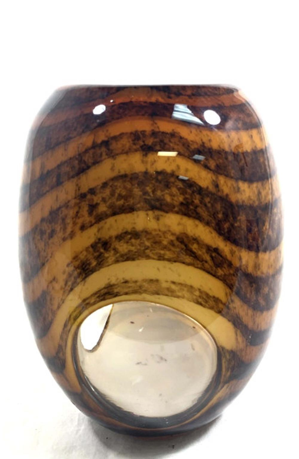 "Lot 69: AMAZING CLEAR ""EYE"" MURANO WAVY STRIPE GLASS VASE"