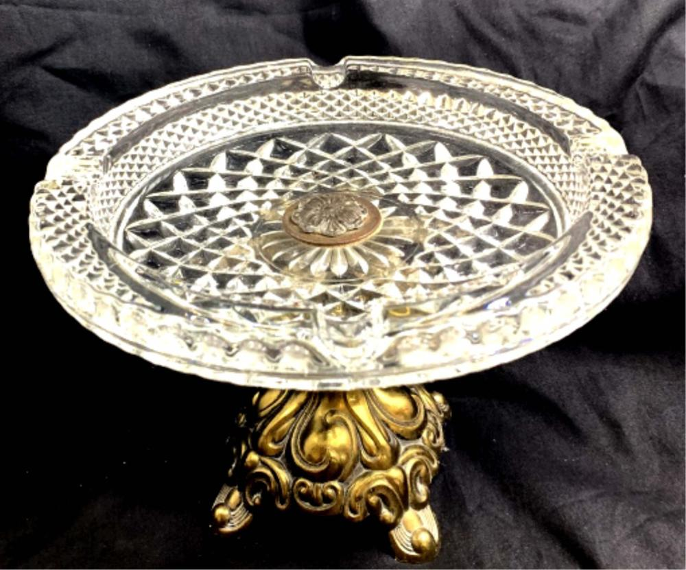 ART DECO ANTIQUE BRASS BOTTOM CRYSTAL ASHTRAY
