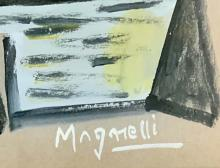 Lot 86: ALBERTO MAGNELLI OIL ON PAPER PAINTING V$5,000
