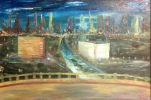 R.T. JOSEPH SIGNED ACRYLIC ON CANVAS CITYSCAPE