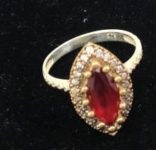 ANTIQUE STYLE MARQUIS CUT RUBY/WT TOPAZ RING