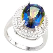 ABSOLTUELY GORGEOUS 6CT OCEAN MYSTIC TOPAZ RING
