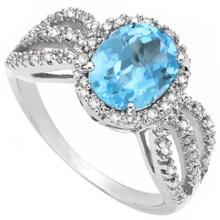 3CT SKY BLUE TOPAZ GEMSTONE W/DIAMONDS RING