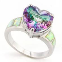 HUGE 5CT HEART CUT BEAUTIFUL MYSTIC TOPAZ RING