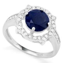 GENUINE 2CT GORGEOUS SAPPHIRE/DIAMOND RING