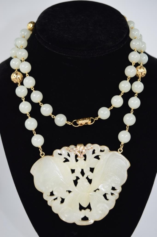 14K GOLD WHITE MUTTON FAT JADE BEAD BUTTERFLY NECKLACE