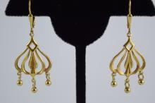 14K GOLD DANGLE ITALIAN CHANDELIER EARRINGS