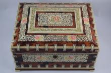 PAINTED FLORAL CARVED INLAY ELEPHANT JEWELRY BOX