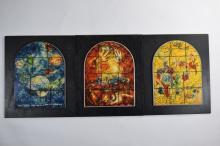 3 PIECE CHAGALL VITRAUX LUCITE SCENES + 1 LITHO