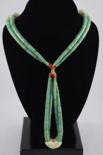 NATIVE AMERICAN INDIAN TURQUOISE CORAL NECKLACE
