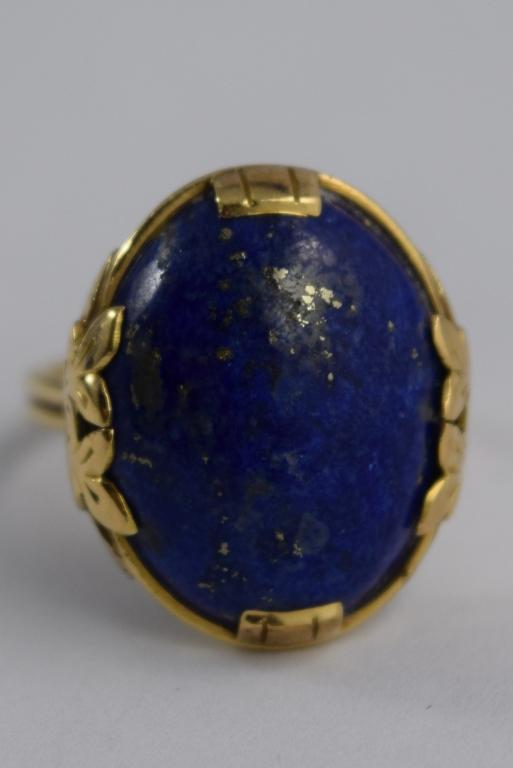 mings 14k gold lapis lazuli cabochon floral ring