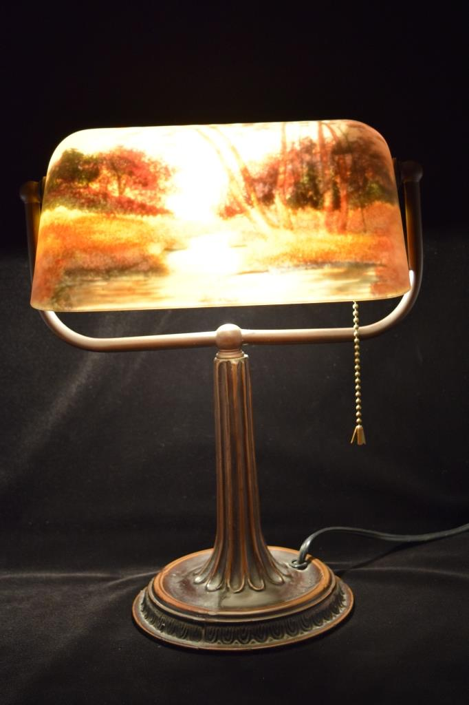 Bronze Desk Lamp Reverse Painted Glass Shade