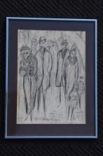 1973 PENCIL CHARCOAL ARTWORK SIGNED H. SHULE?