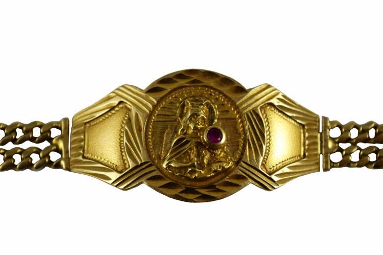 ANTIQUE 14K GOLD GEM RELIGIOUS ICON PLAQUE BRACELET